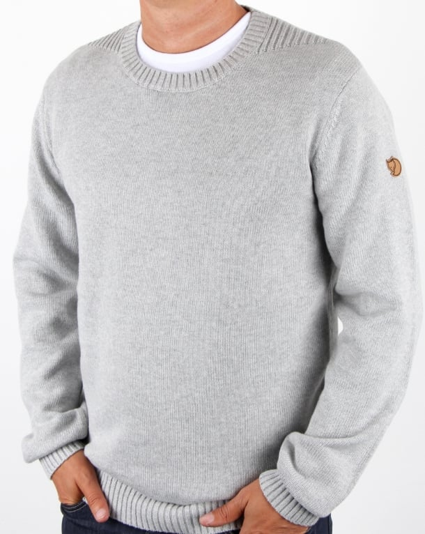 Fjallraven Ovik Crew Knit Jumper Light Grey