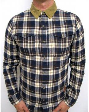 Fly 53 Heathwood Check Shirt Midnight Navy
