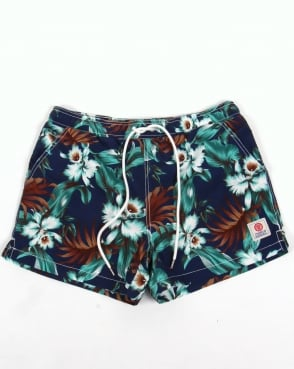 Franklin And Marshall Floral Beach Shorts Vintage Blue