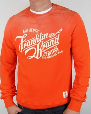Franklin And Marshall Heritage Logo Sweatshirt Orange