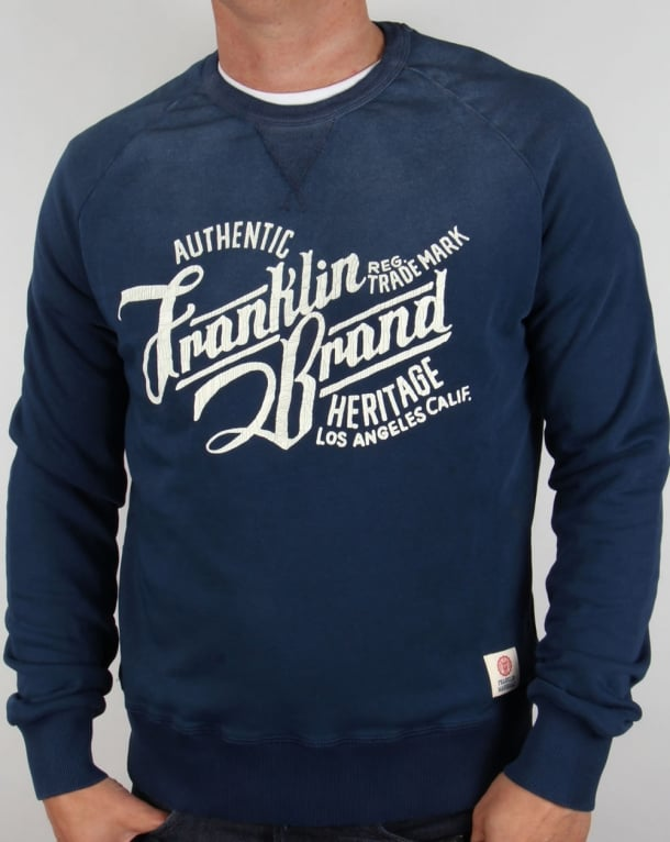 Franklin And Marshall Heritage Logo Sweatshirt Original Blue