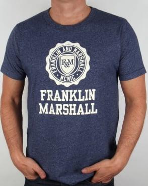 Franklin And Marshall Large Logo T-shirt Blue Melange