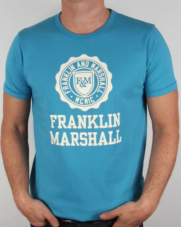Franklin And Marshall Large Logo T-shirt Cloud Blue