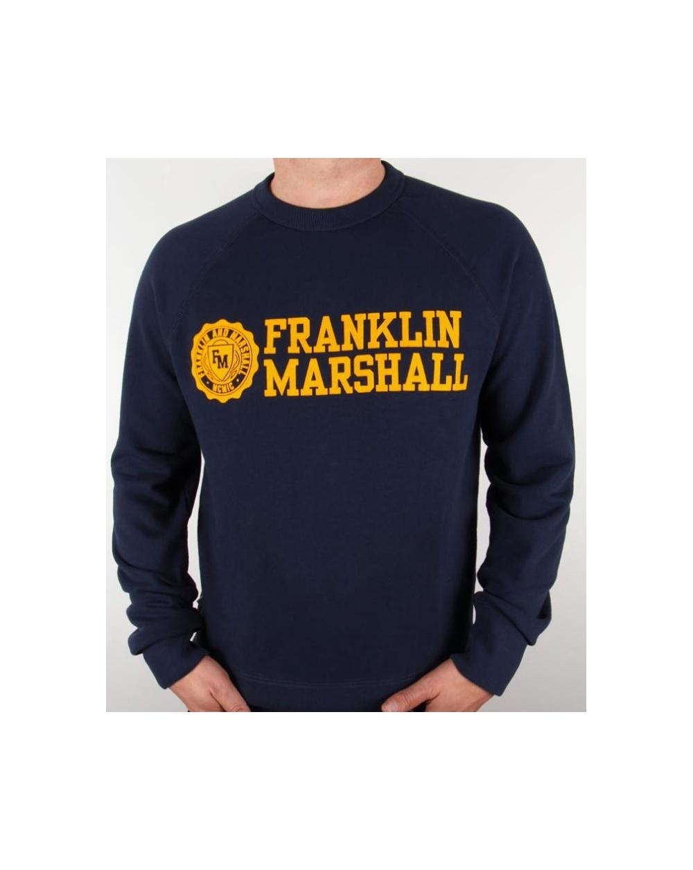 Franklin and Marshall Franklin And Marshall Logo Sweatshirt Navy Gold 4b3215e40b0