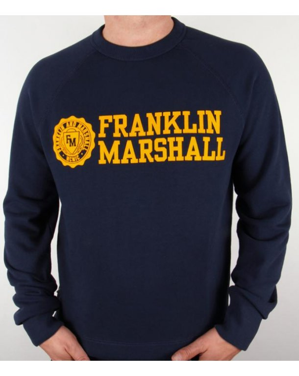 Franklin And Marshall Logo Sweatshirt Navy/Gold