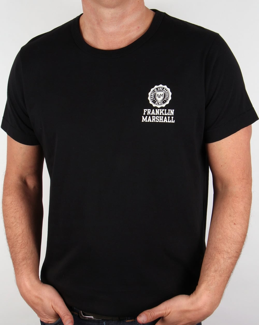 Franklin And Marshall Small Logo T Shirt Black Mens Tee