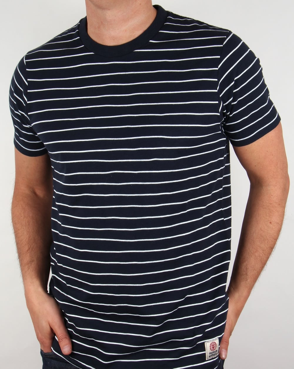 franklin and marshall striped t shirt navy white mens tee