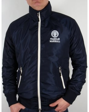 Franklin And Marshall Uni Zip Funnel Neck Jacket Navy