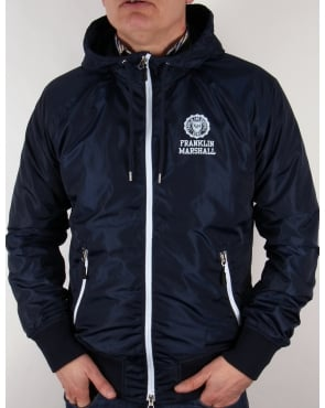 Franklin And Marshall Uni Zip Hooded Jacket Navy