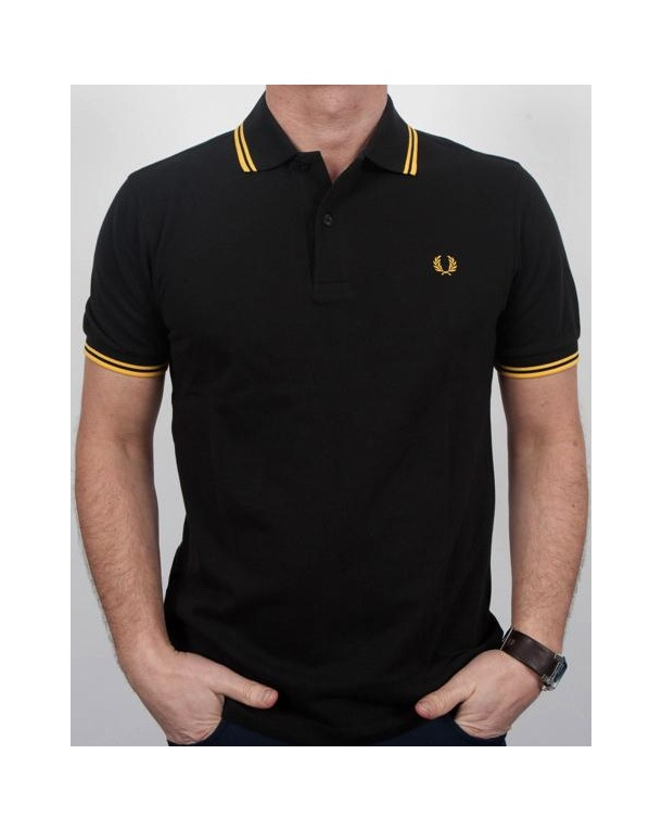 Fred Perry Twin Tipped Polo Shirt Black/Yellow - fred ...
