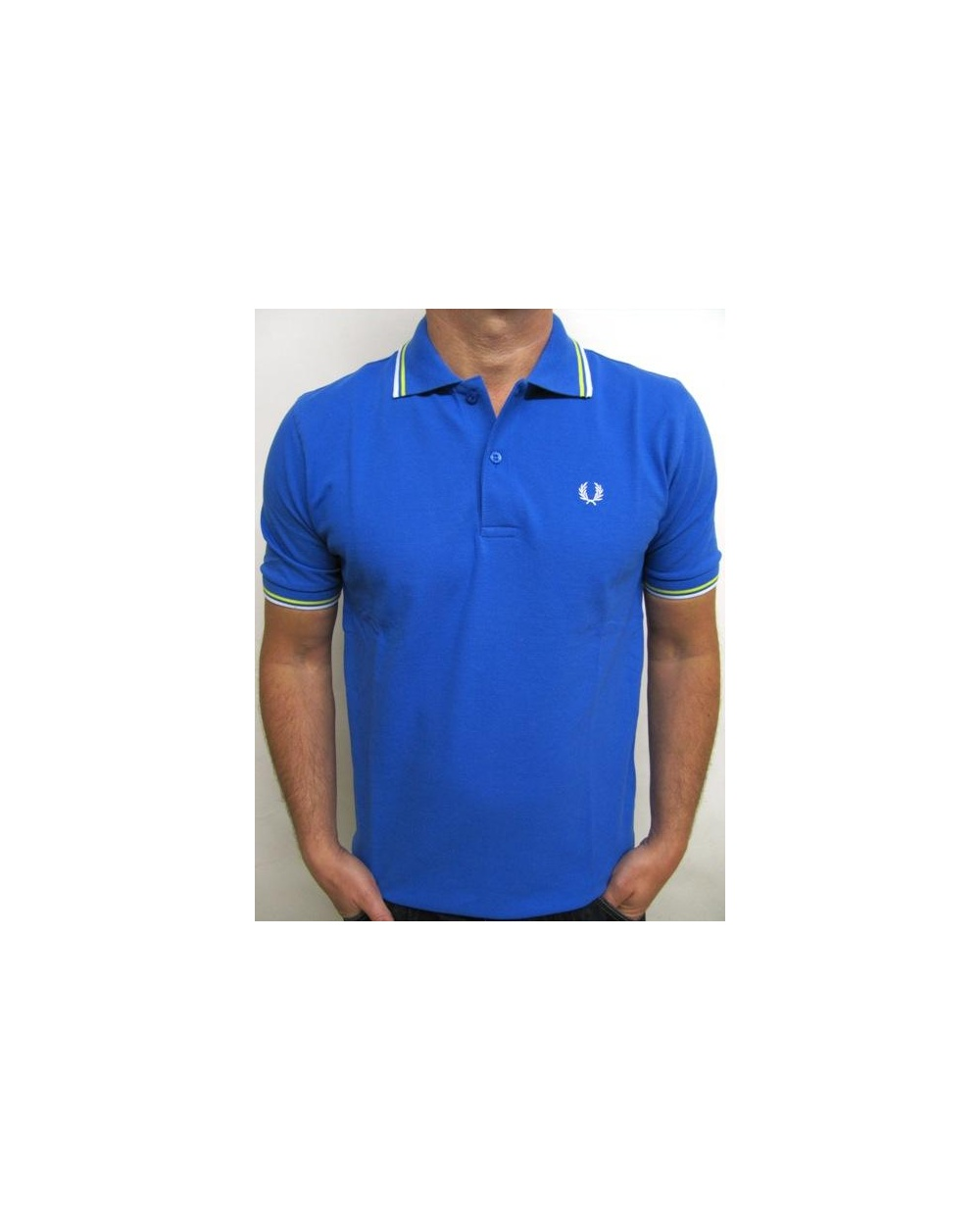 10e87a7c1be Fred Perry Twin Tipped Polo Shirt Cobalt White Yellow - fred perry mens  black polo shirt
