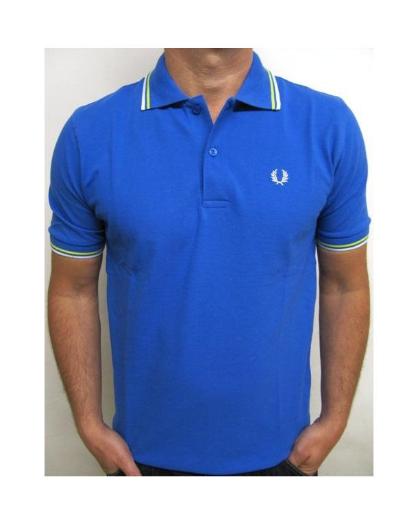 Fred perry twin tipped polo shirt cobalt white yellow for Cobalt blue polo shirt