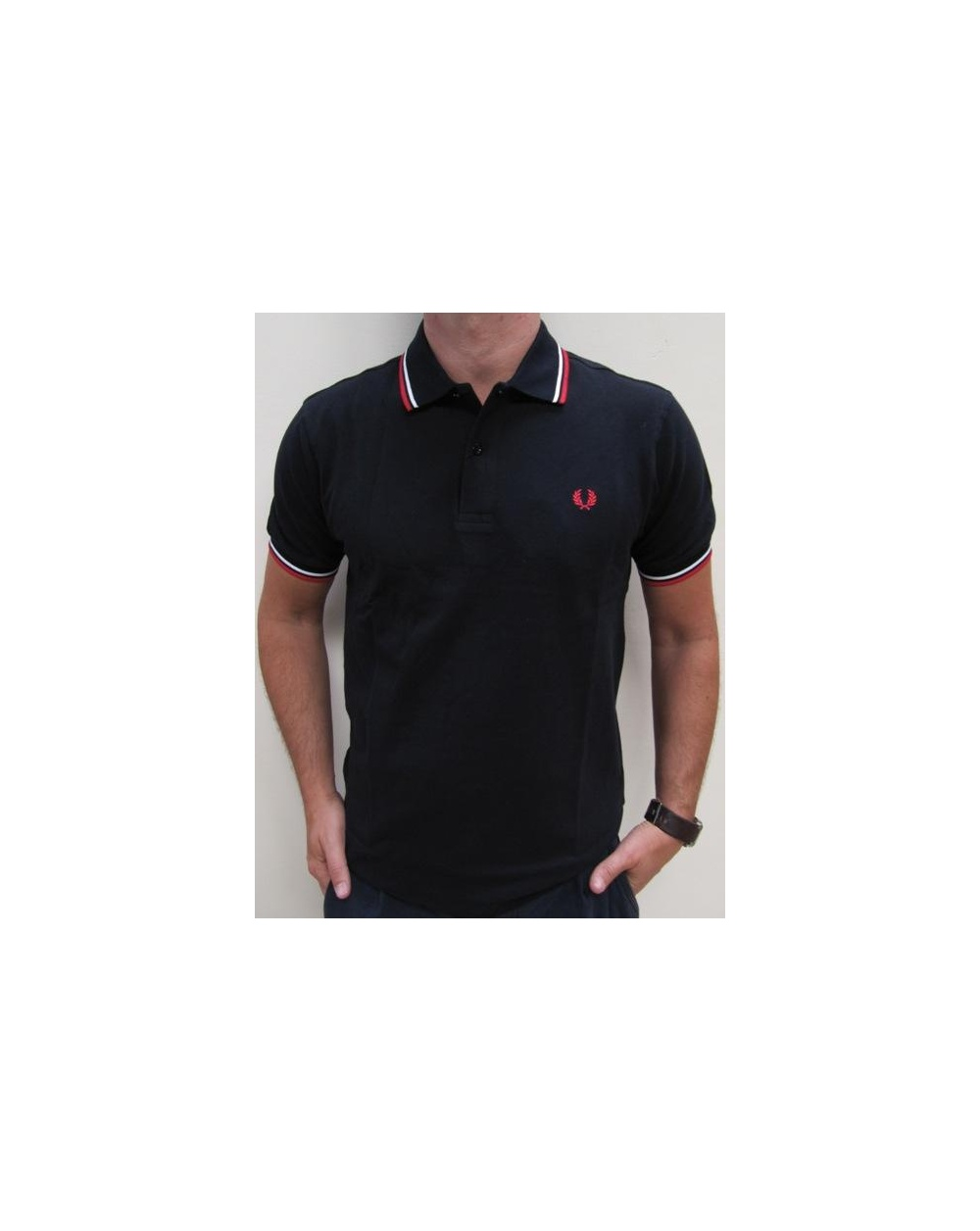 Fred Perry Twin Tipped Polo Shirt Dark Navyredwhite Fred Perry
