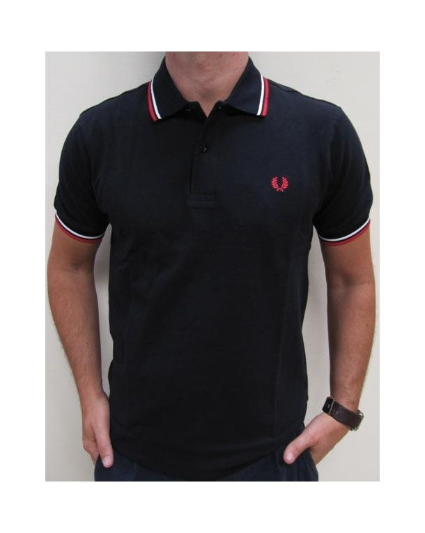 Fred Perry Twin Tipped Polo Shirt Dark Navy/Red/White