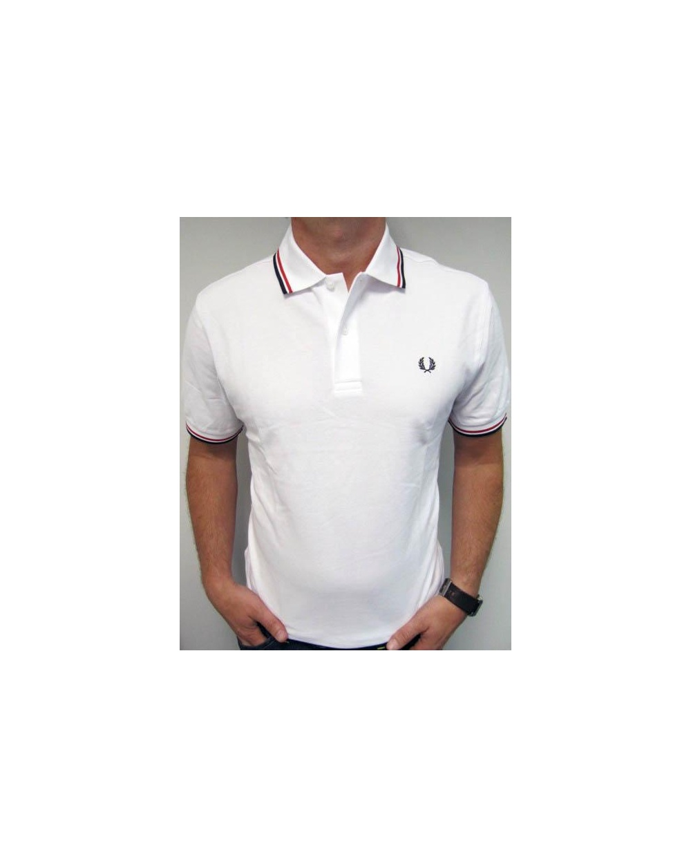 e3413fd5a Fred Perry Twin Tipped Polo Shirt White Red Navy - fred perry mens black  polo shirt