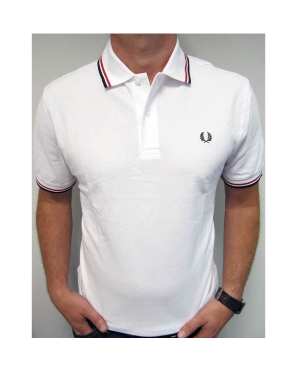 Fred Perry Twin Tipped Polo Shirt White/Red/Navy