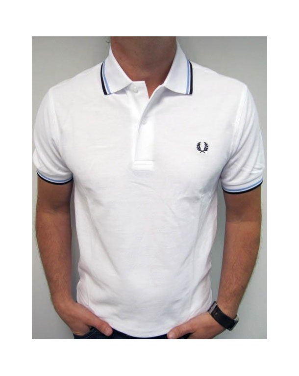 Fred Perry Twin Tipped Polo Shirt White/Sky Blue/Navy