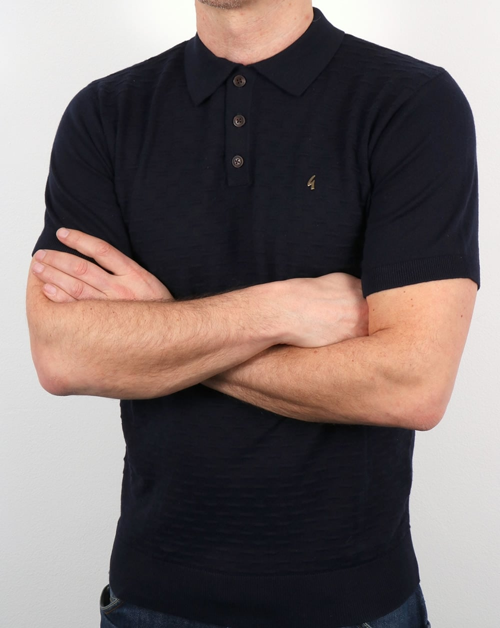 Gabicci vintage bennett polo shirt navy retro cotton smart for Mens navy polo shirt