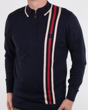 Gabicci Vintage Blade Long Sleeve Polo Navy