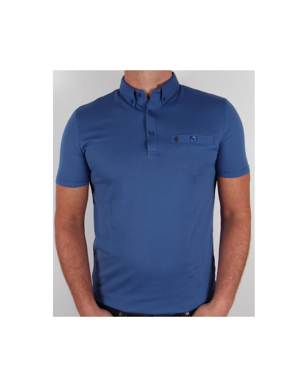 Gabicci Vintage Button Down Collar Polo Shirt Royal Blue