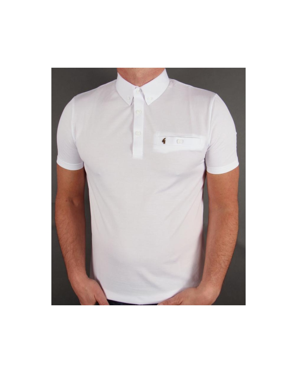 Gabicci Vintage Button Down Collar Polo Shirt White
