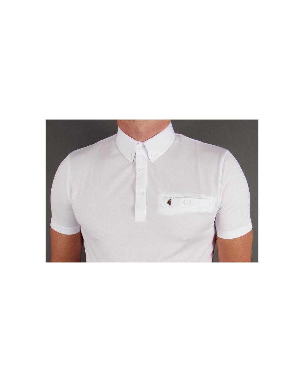 Gabicci vintage button down collar polo shirt white for White button down collar shirt