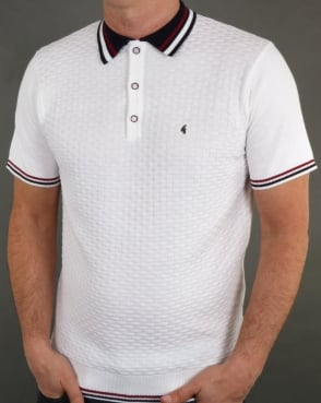 Gabicci Vintage Clothing Gabicci Vintage Casper Knitted Polo Shirt White