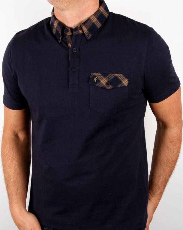 Gabicci Vintage Check Collar Polo Shirt Navy