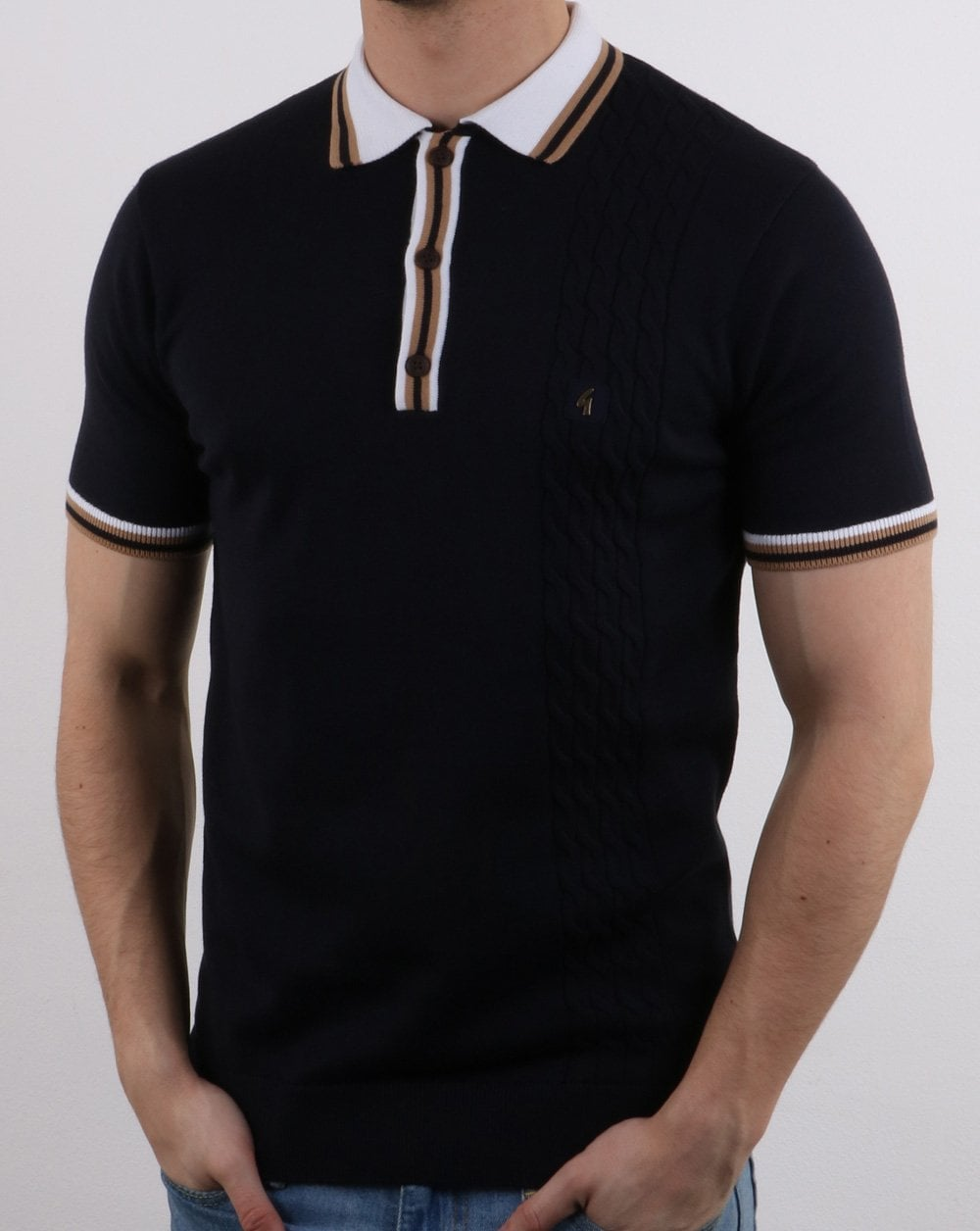 c04b35048 Gabicci Vintage Knitted Polo Shirt in Navy | 80s Casual Classics