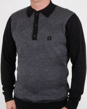 Gabicci Vintage Harcourt Long Sleeve Polo Black