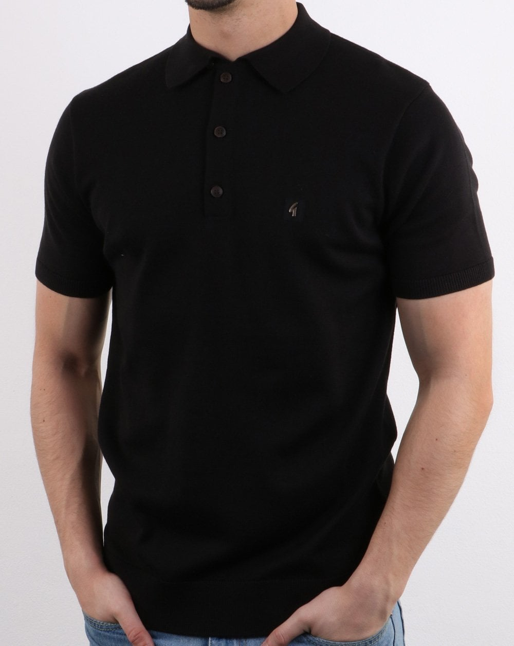 f98343d48 Gabicci Vintage Knitted Logo Polo Shirt in Black | 80s Casual Classics