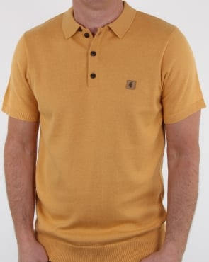 Gabicci Vintage Jackson Knitted Polo Shirt Mustard