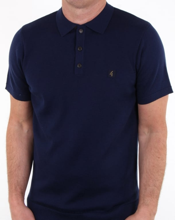 Gabicci Vintage Jackson Knitted Polo Shirt Surf Blue
