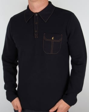Gabicci Vintage Knitted Long Sleeve Polo Shirt Navy
