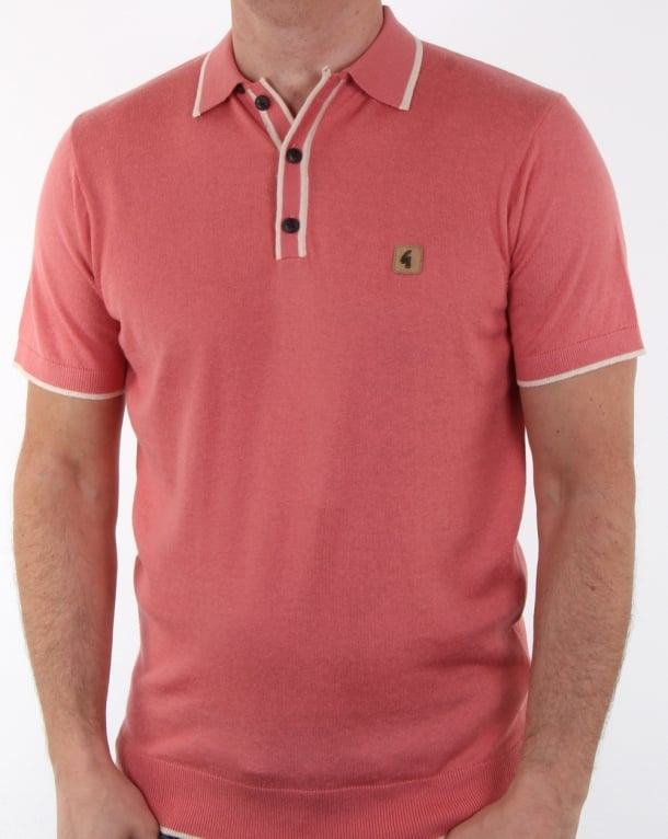 Gabicci Vintage Linekar Knitted Polo Shirt Pink