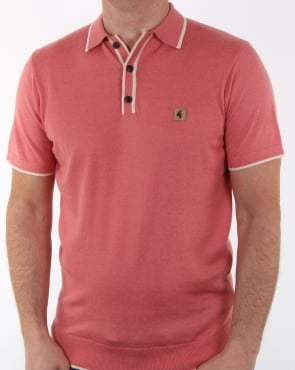 Gabicci Vintage Clothing Gabicci Vintage Linekar Knitted Polo Shirt Pink