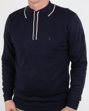 Gabicci Vintage Lineker Long Sleeve Polo Navy