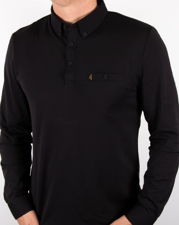Gabicci Vintage Long Sleeve Polo Shirt Black