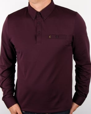 Gabicci Vintage Long Sleeve Polo Shirt Mulberry
