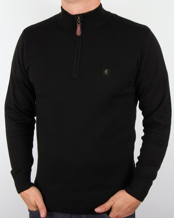 Gabicci Vintage Quarter Zip Jumper Black