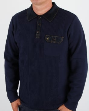 Gabicci Vintage Clothing Gabicci Vintage Romero Collared Jumper Navy