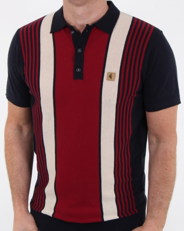 Gabicci Vintage Searle Knitted Polo Shirt Navy