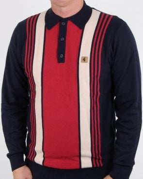 Gabicci Vintage Searle Long Sleeve Polo Navy
