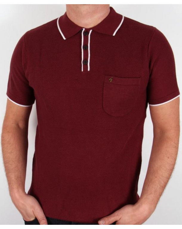 Gabicci Vintage Waffle Knitted Polo Shirt Port