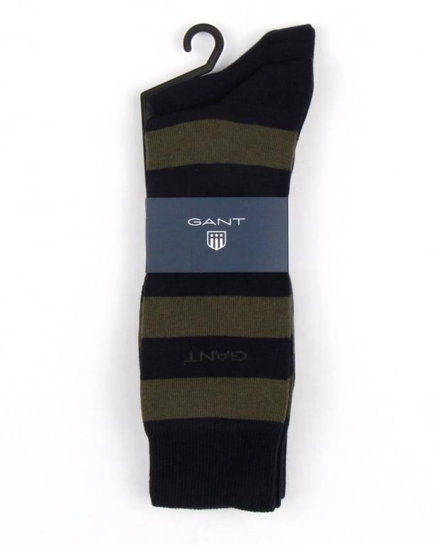 Gant 2 Pack Bar Stripe Socks Moss Green