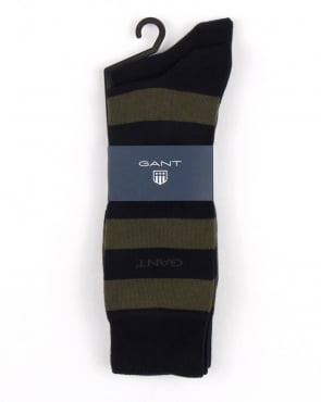 Gant 2 Pack Bar Stripe Socks Moss Green
