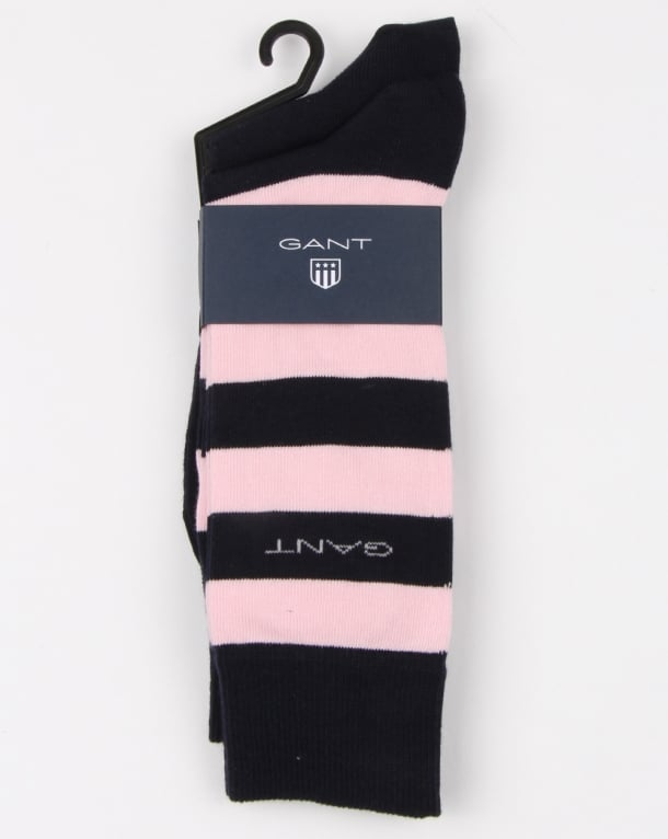 Gant 2 Pack Bar Stripe Socks Shadow Rose