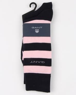 Gant 2 Pack Bar Stripe Socks Shadow Rose