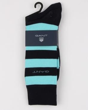 Gant 2 Pack Bar Stripe Socks Topaz Blue