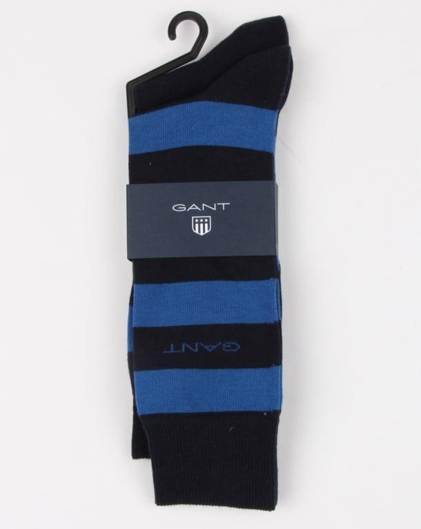 Gant 2 Pack Bar Stripe Socks Yale Blue